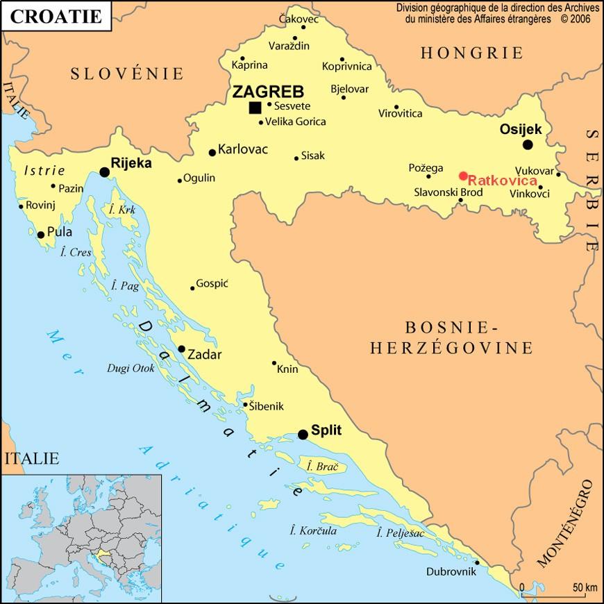 Carte Croatie localisation de Ratkovica en Slavonie