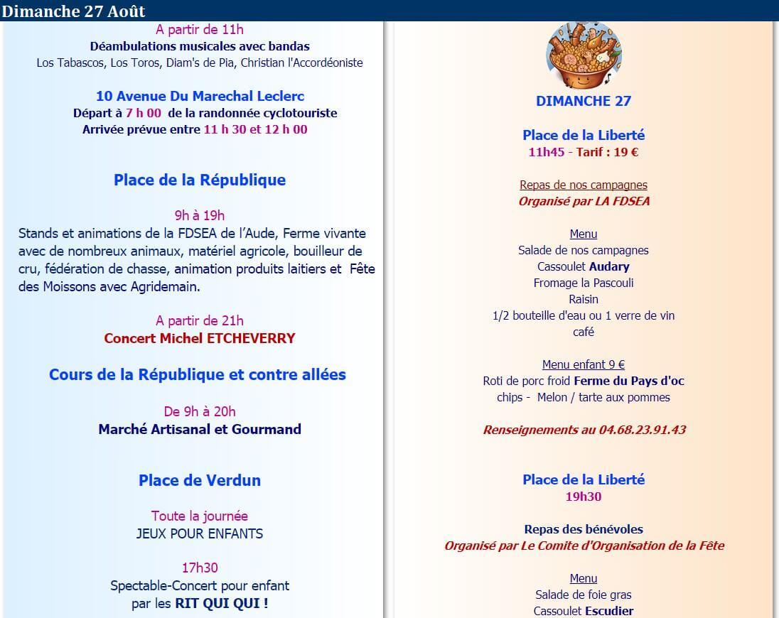 programme fête cassoulet castelnadary 2017 dimanche 27 aout