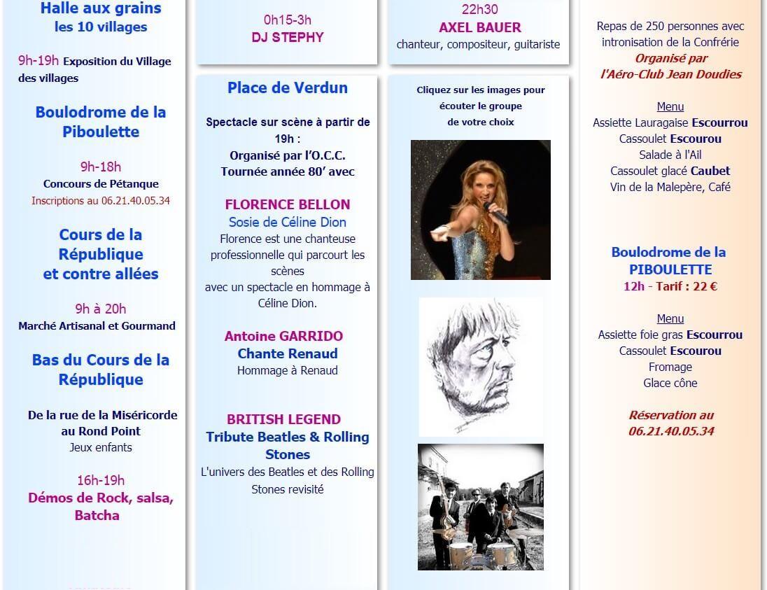 programme fête cassoulet castelnadary 2017 samedi 26 aout