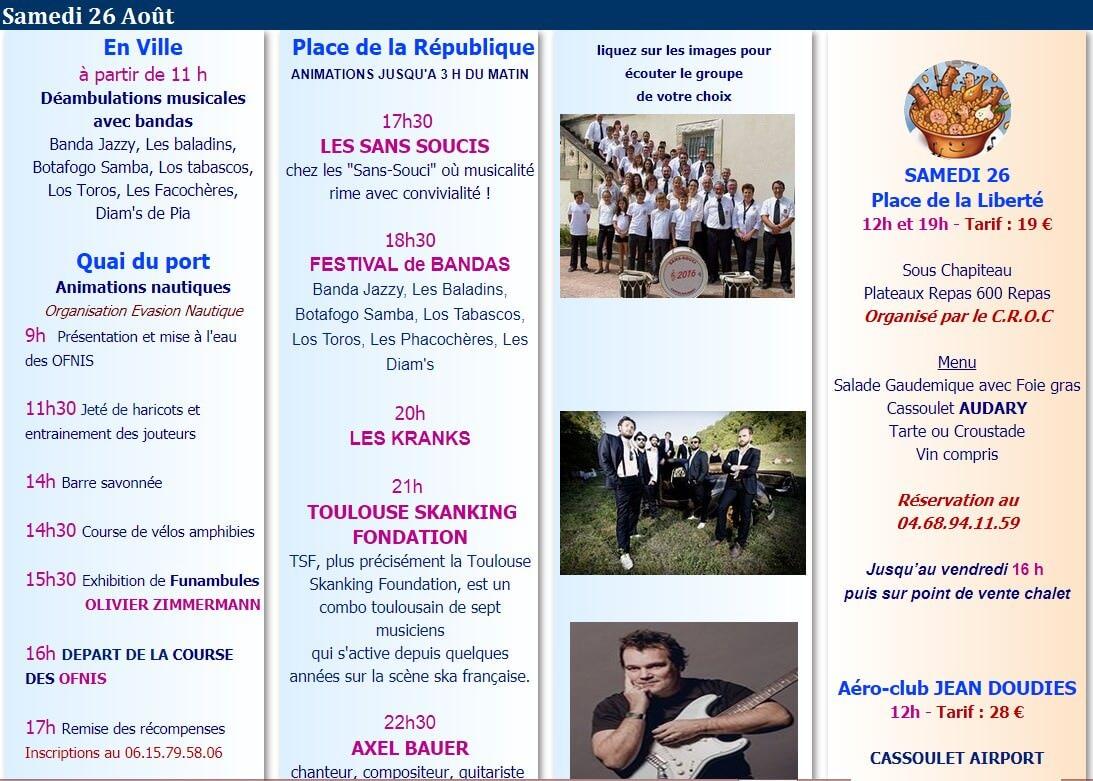 programme fête du cassoulet 2017 Castelnaudary samedi