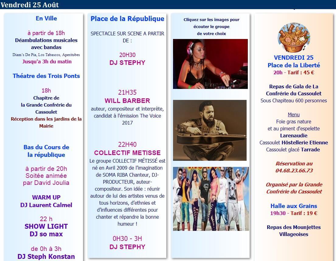 programme fête du cassoulet 2017 Castelnaudary