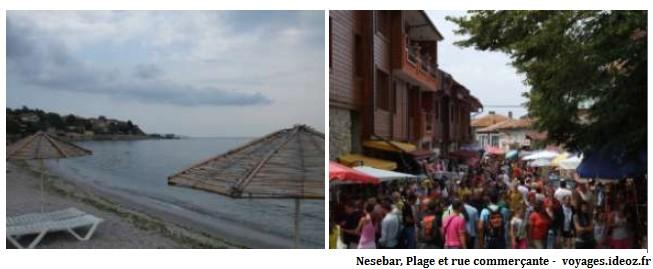 Nesebar plage et rue commerçante