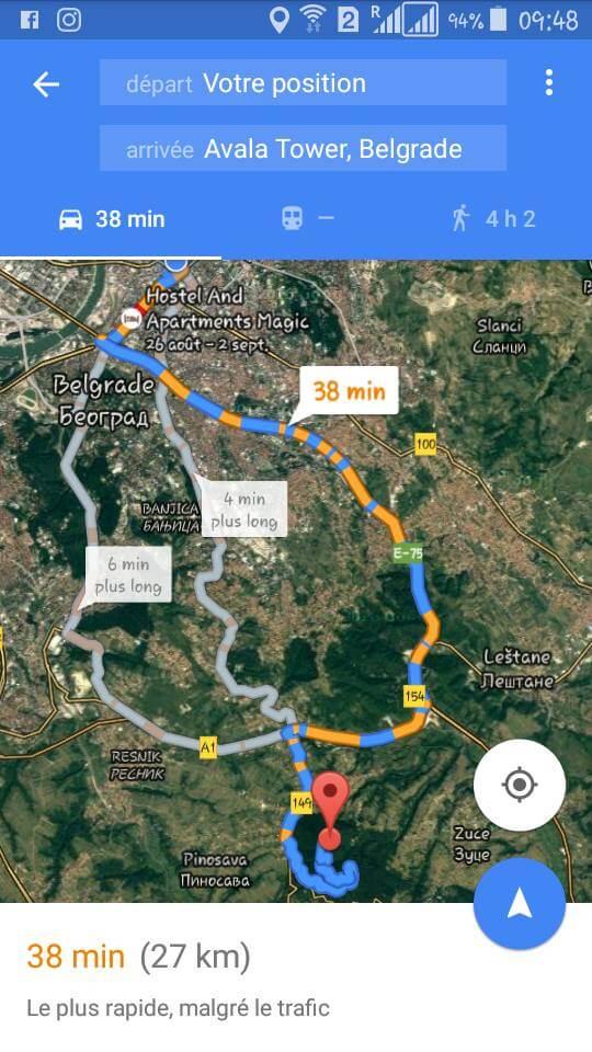 google map belgrade hotel majestic vers avala tower
