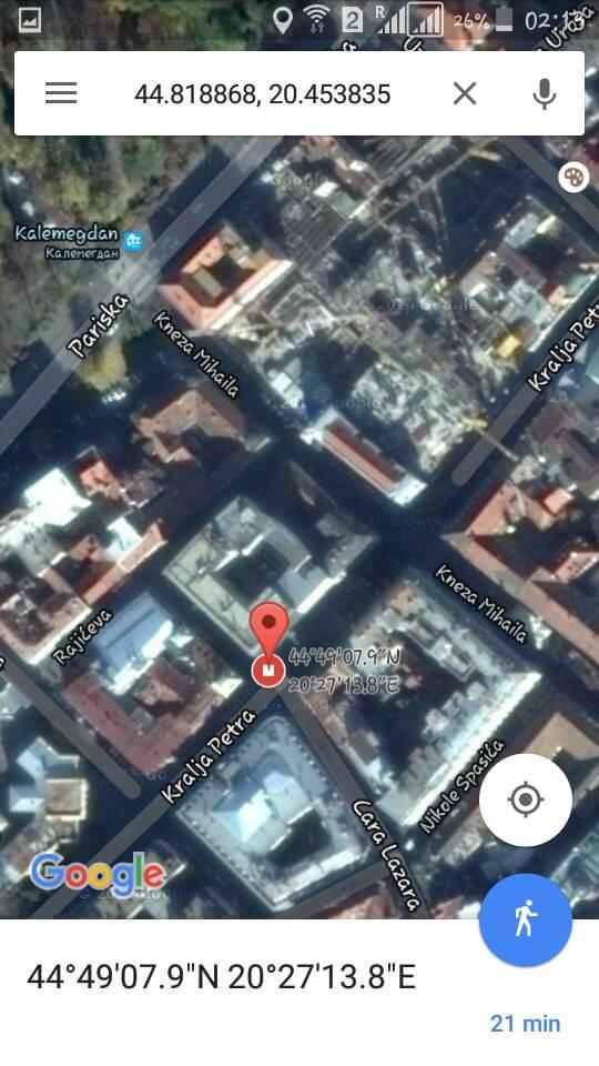 google map stari beograd