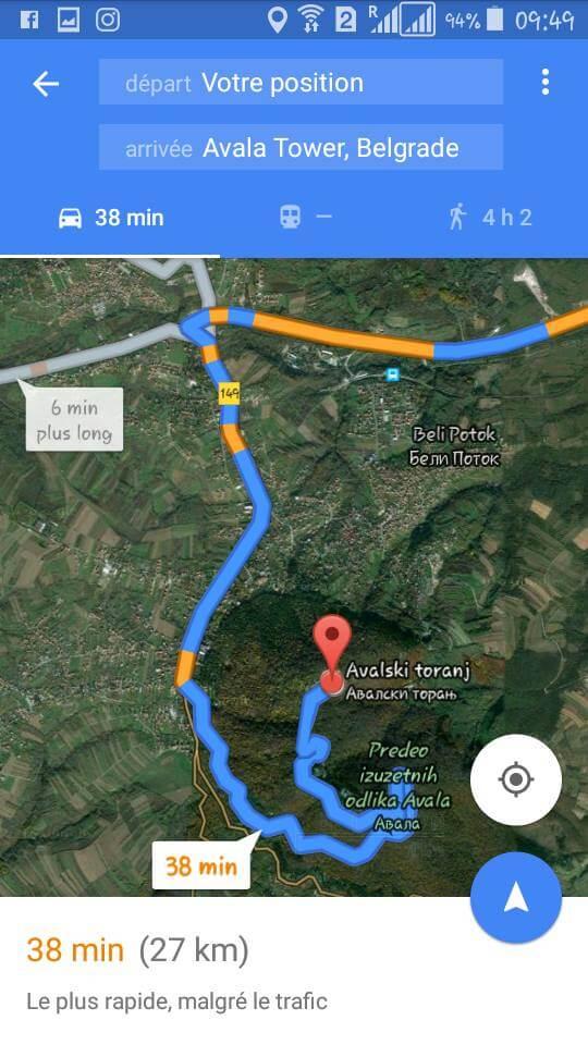 google map vers avala tower belgrade