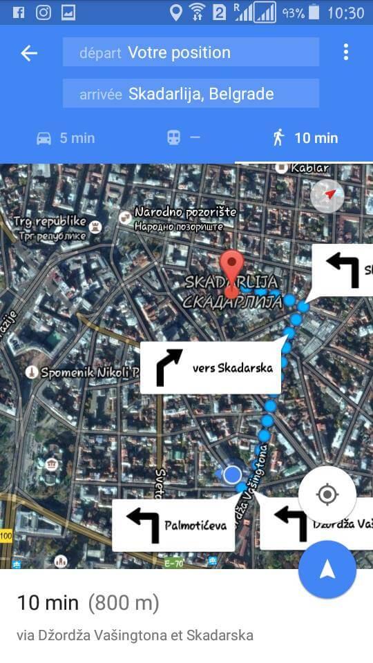 google map belgrade vers rue skadarlija