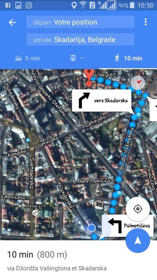 google map belgrade depuis hotel majestic vers skadarlija
