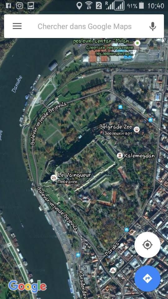 google map zoo de belgrade kalemegdan