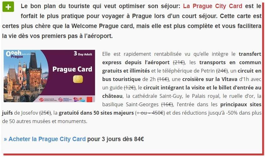 prague card 3 jours