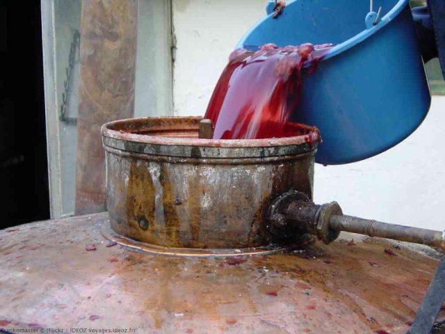 remplir l'alambic avec le jus de prune fermenté