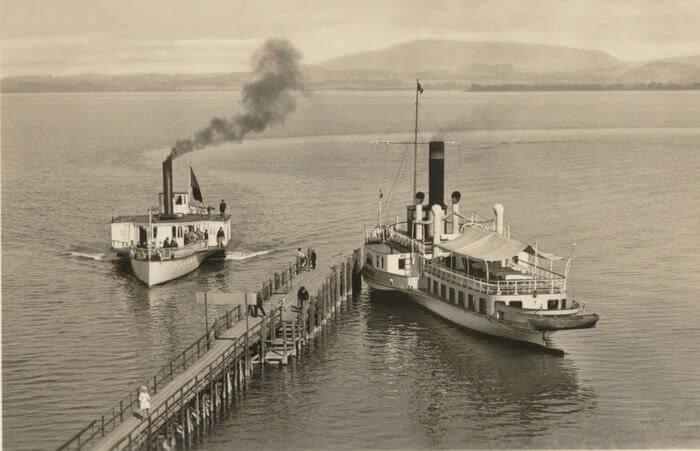 bateau luitpold sur le lac chiem en 1887