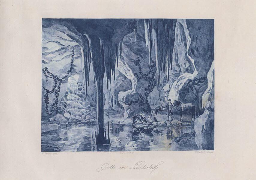Heinrich Christoph Gottlieb Breling Peinture Louis II à Linderhof dans sa grotte de Vénus
