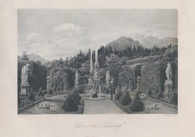Heinrich Christoph Gottlieb Breling Peinture Louis II dans le jardin de Linderhof