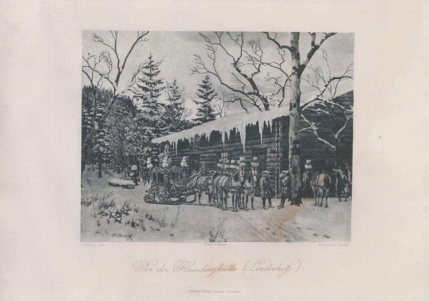 Heinrich Christoph Gottlieb Breling Peinture carrosse royal de Louis II à Linderhof devant Hundinghutte