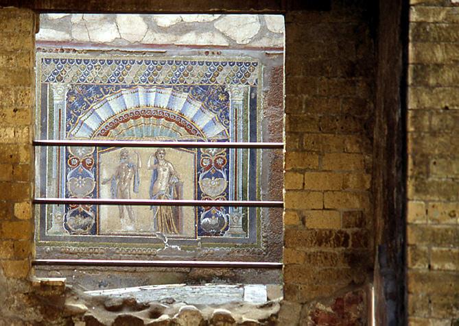 Herculanum fresque Neptune et Amphitrite