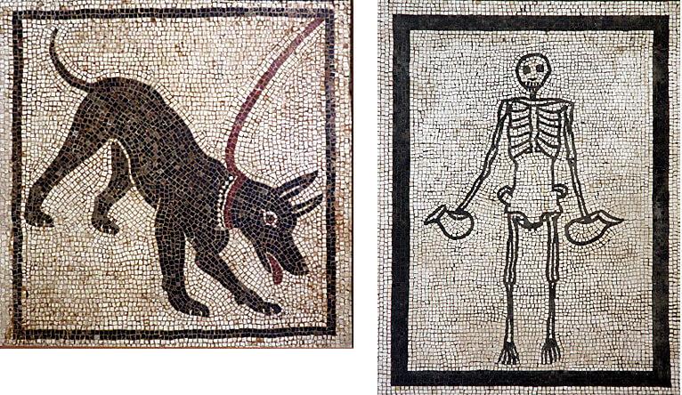 Naples musée archeologique cave canem squelette mosaique