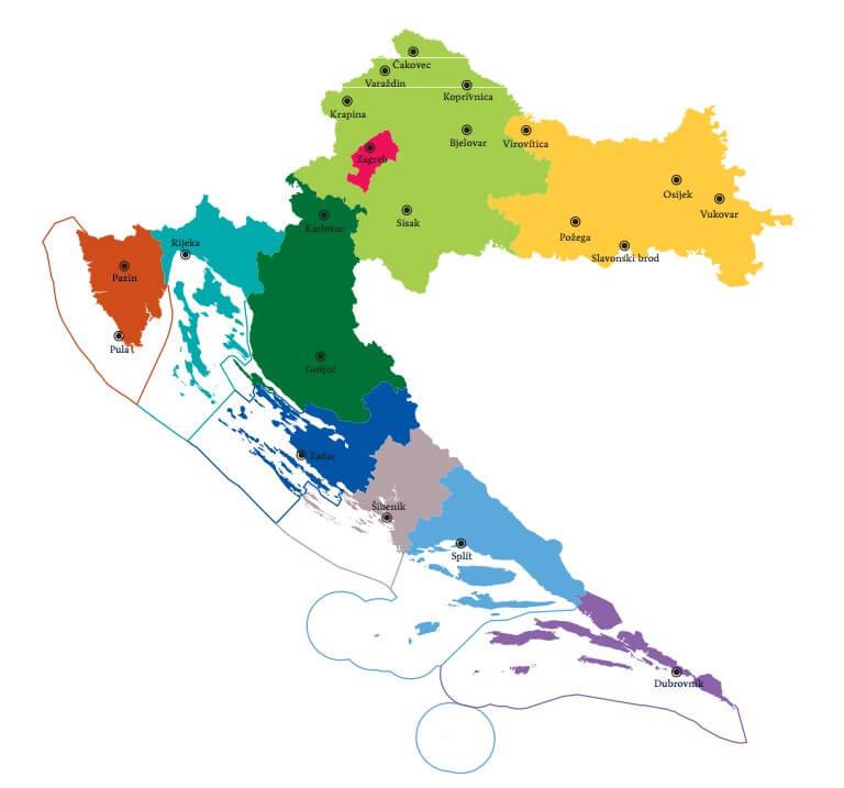 carte de la croatie avec les villes