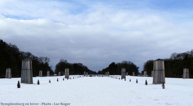 Parc de Nymphenburg en hiver sous la neige