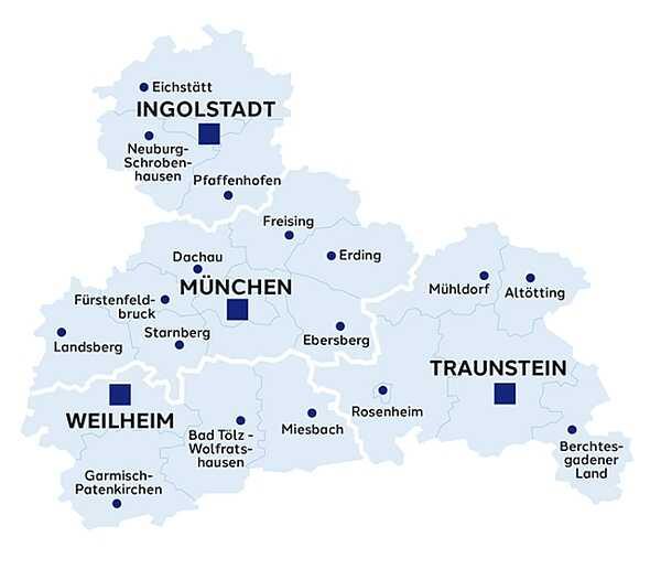 carte de la haute bavière oberbayern