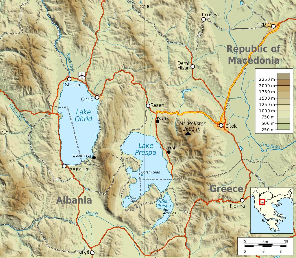 carte région des lacs de Macédoine