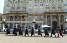 Zagreb place Ban Josip Jelacic soldats du régiment de la cravate