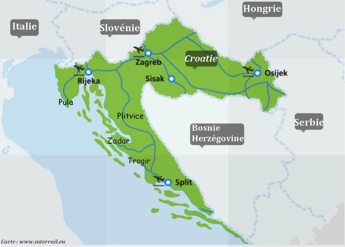 Interrail trains en Croatie