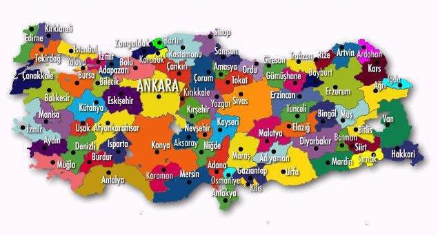 carte des villes de Turquie
