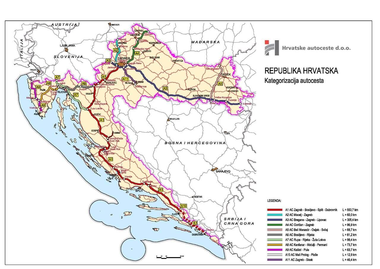 Carte Autoroute Croatie.Carte De Croatie Regions Reliefs Sites A Ne Pas Manquer