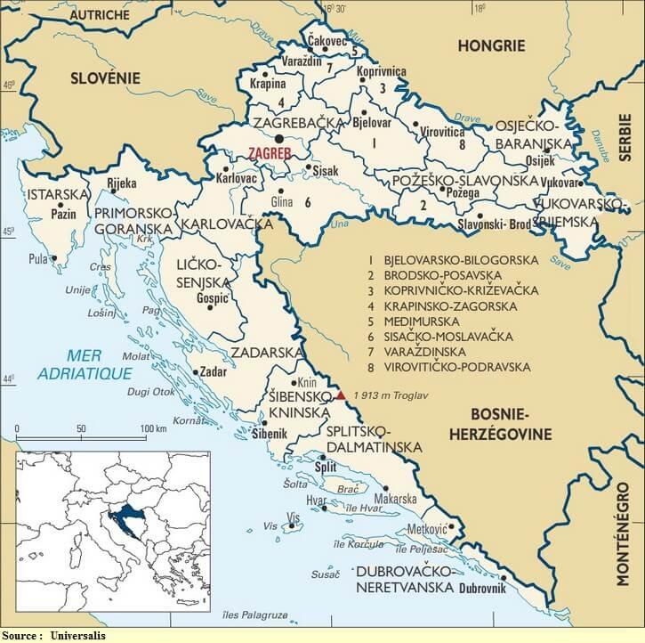 Carte Cote Croatie.Carte De Croatie Regions Reliefs Sites A Ne Pas Manquer Routes