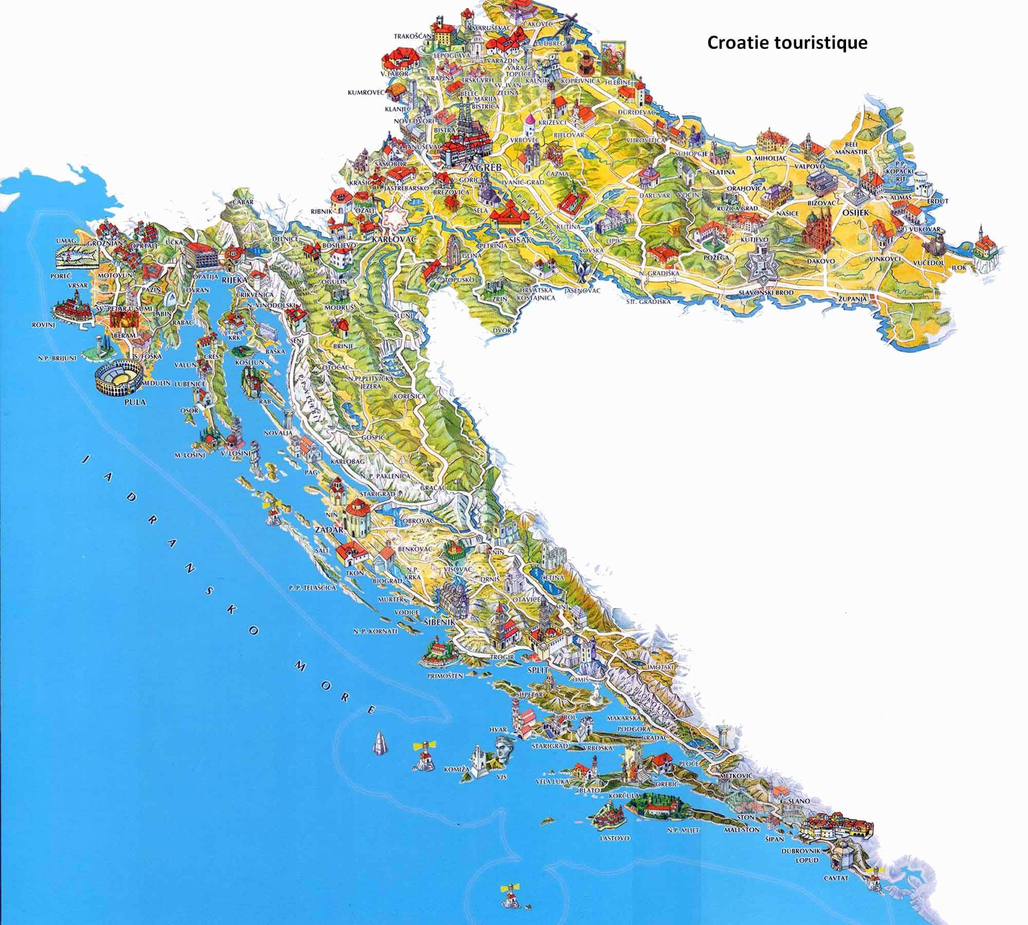 Carte Croatie Lieux Dinteret.Carte De Croatie Regions Reliefs Sites A Ne Pas Manquer Routes