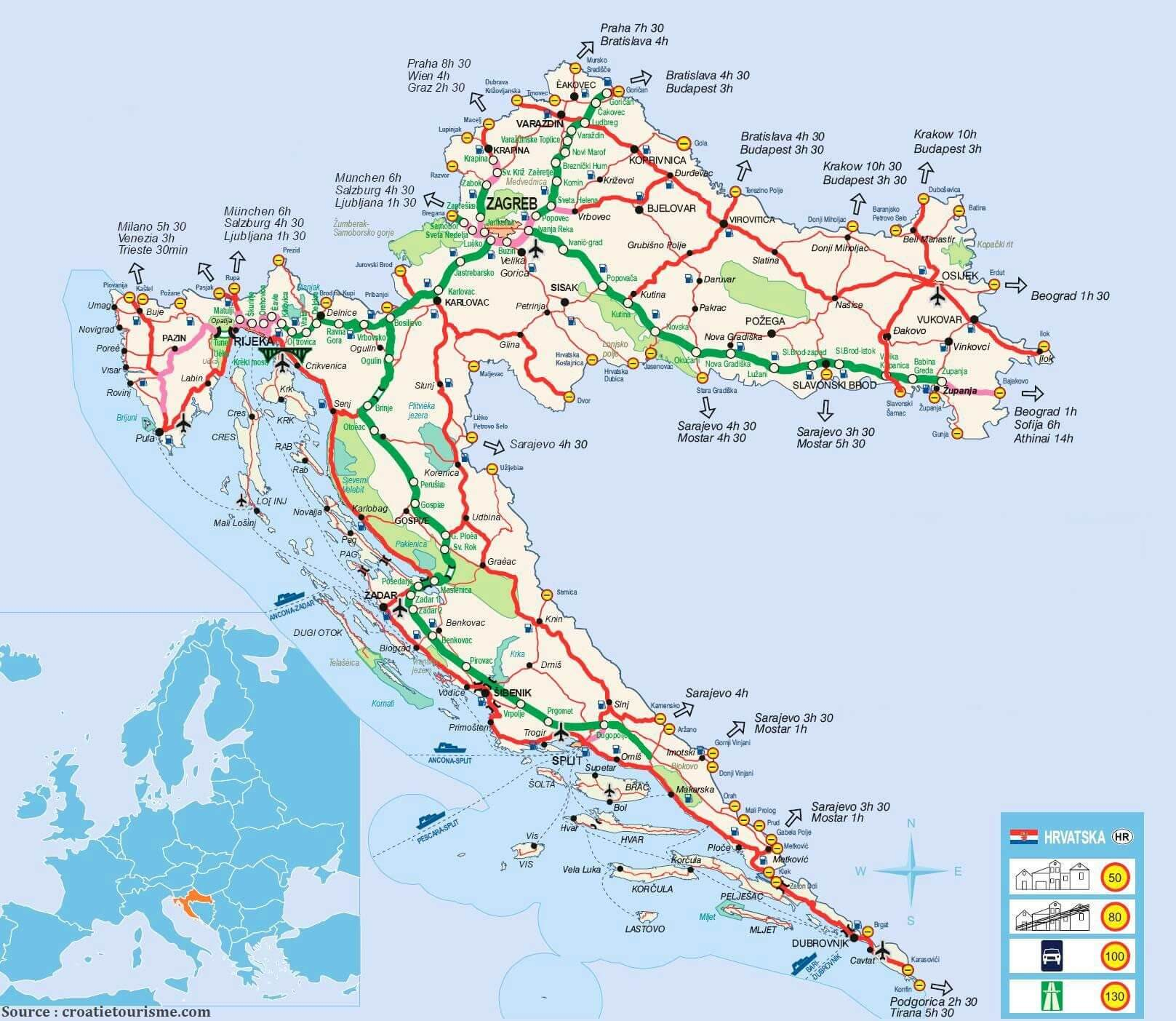 carte croatie transports