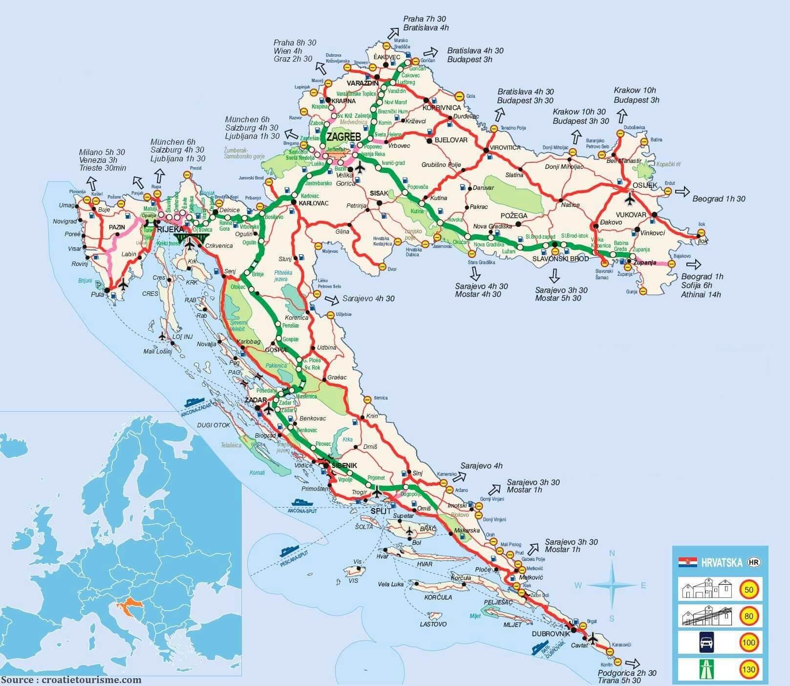 carte croatie transports