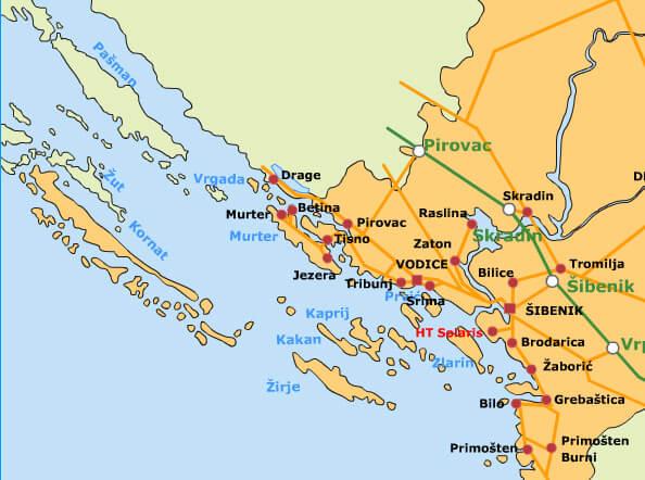carte iles kornati et dalmatie du nord
