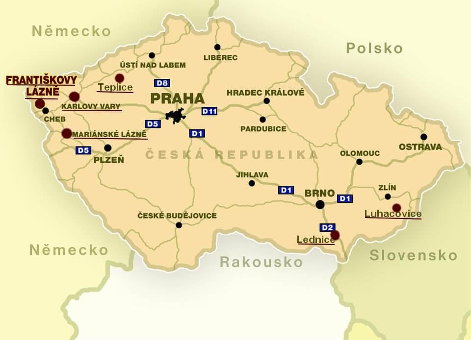 carte république tchèque villes thermales
