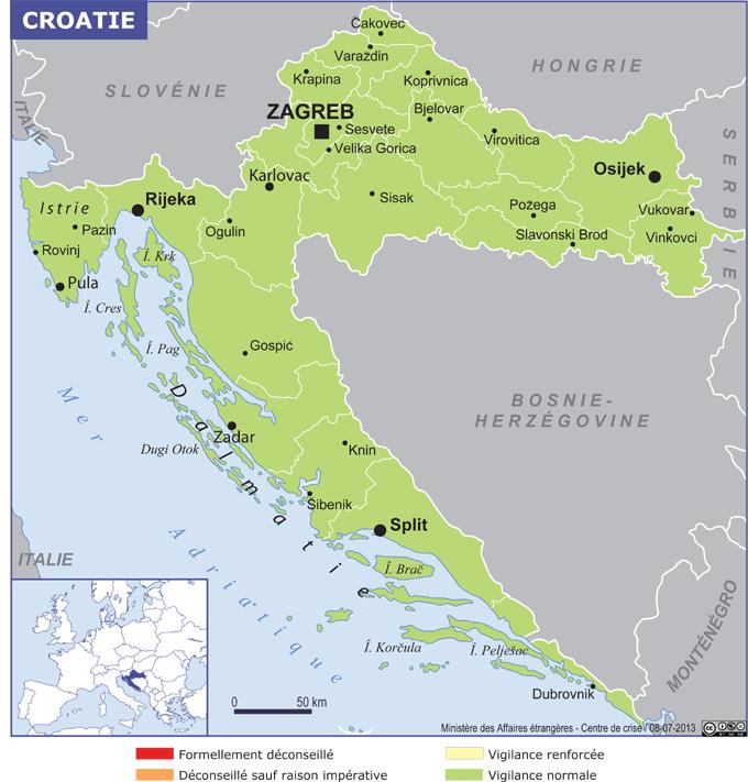 Croatie carte niveau de sécurité