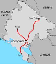 trains au Montenegro lignes de chemin de fer
