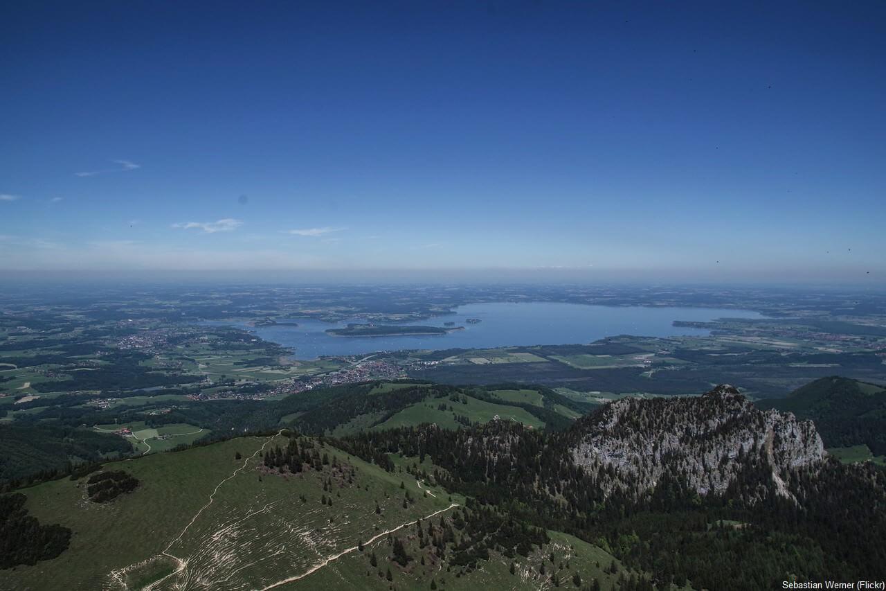 Lac Chiem depuis les alpes bavaroises du Chiemgau