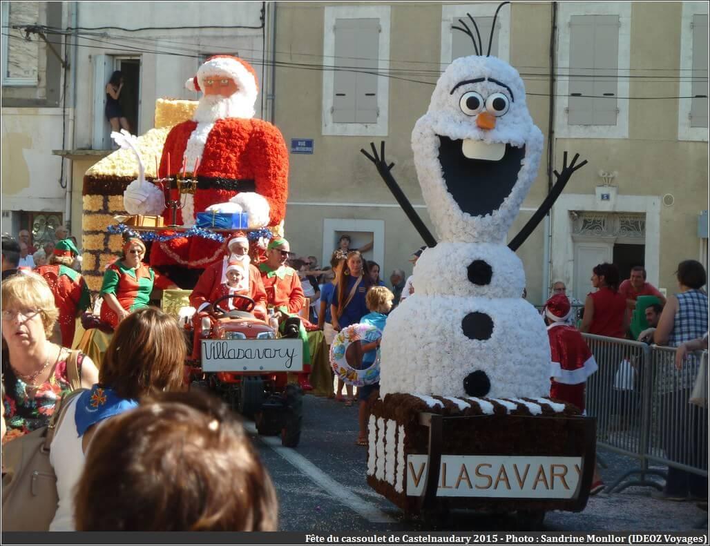 Père Noel bonhomme de neige fête du cassoulet de castelnaudary