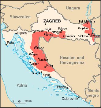 Carte de la République serbe de Krajina de janvier 1993 à mai 1995