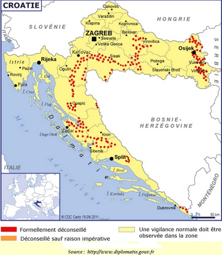 carte des mines antipersonnel en croatie
