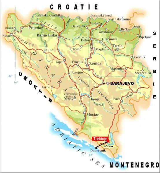Carte Bosnie Herzégovine Trebinje