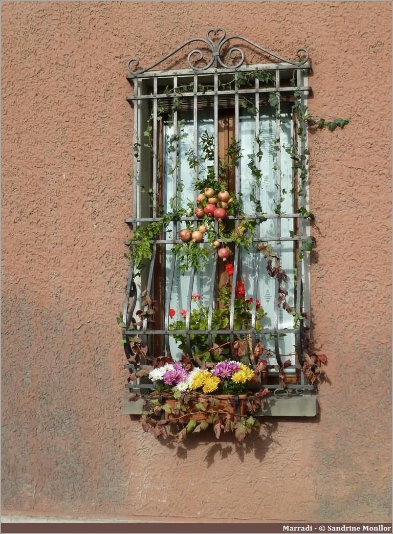 Fenêtre décorée en automne sur la Strada del marrone del Mugello