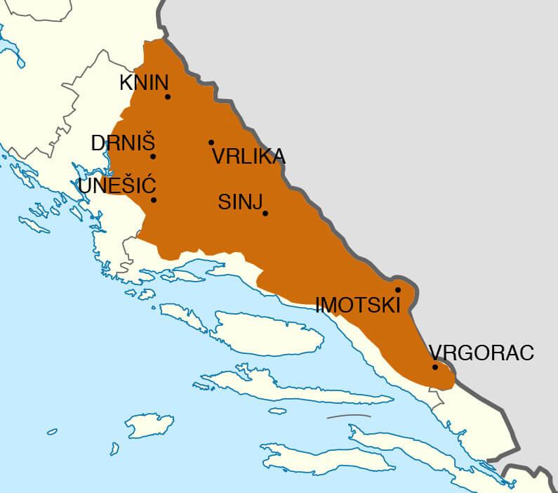 Carte de la Krajina autour de la Cetina Cetinjska Krajina Karta