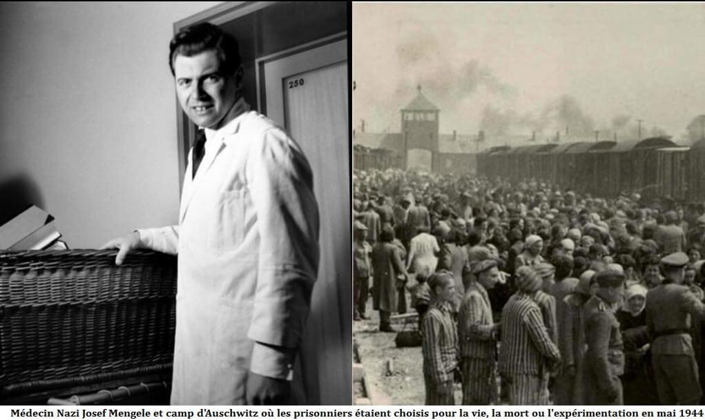 Médecin Nazi Josef Mengele - camp d'Auschwitz choix des prisonniers pour la vie, la mort ou l'expérimentation en mai 1944