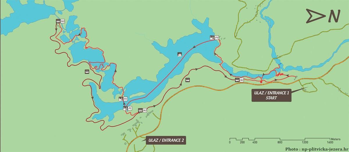 Circuit C autour des lacs de Plitvice dep