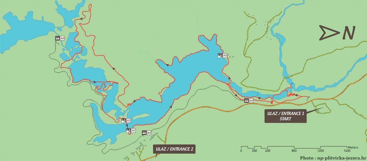 Circuit K depuis l'entrée 1 de Plitvice