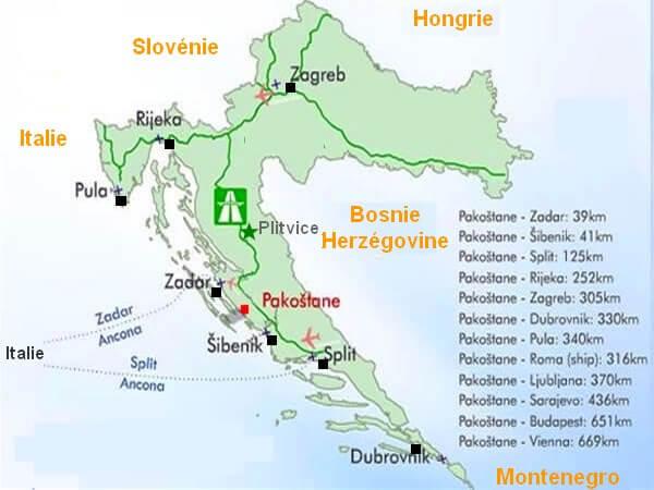 Croatie carte pakostane