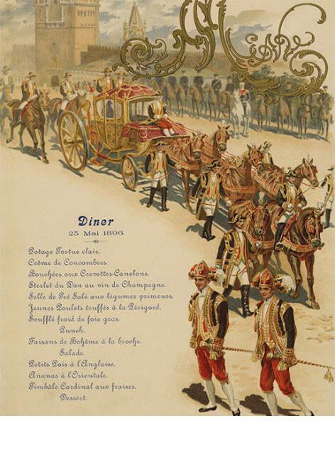 Menu 1896 à la cour de russie