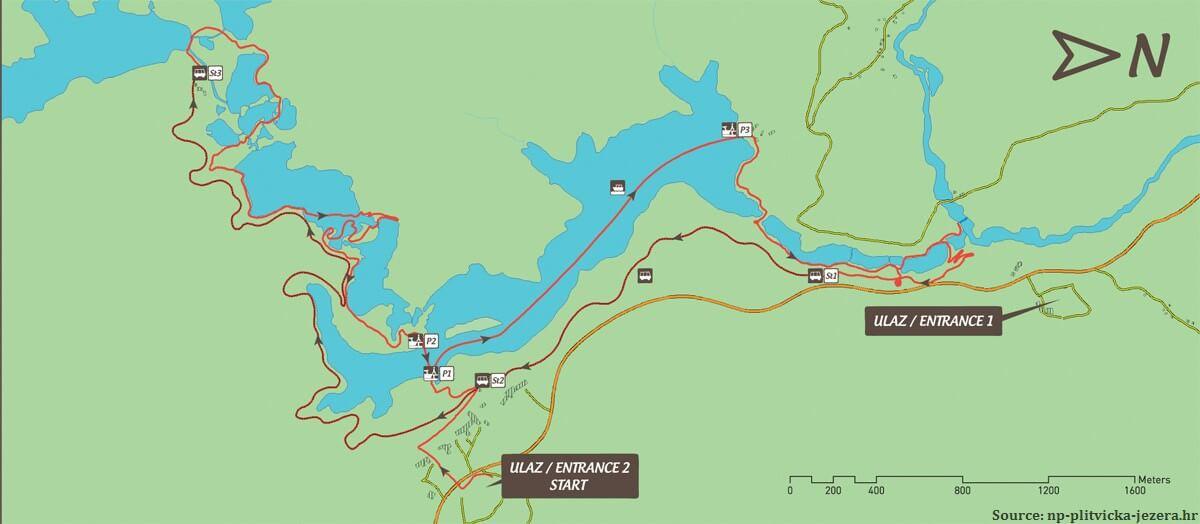 Parcours H de Plitvice depuis l'entrée 2