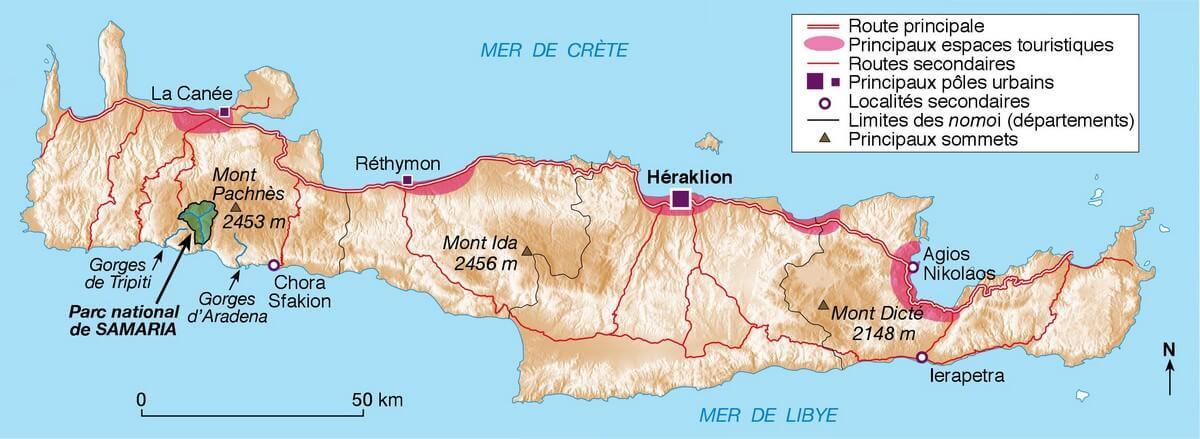 carte de la Crète routes